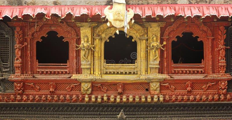 W zawiły sposób projekt na okno durbar Hanuman dhoka fotografia stock