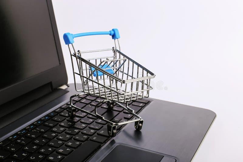 W?zek na zakupy jest na laptopie Online sprzeda?y poj?cie obraz stock