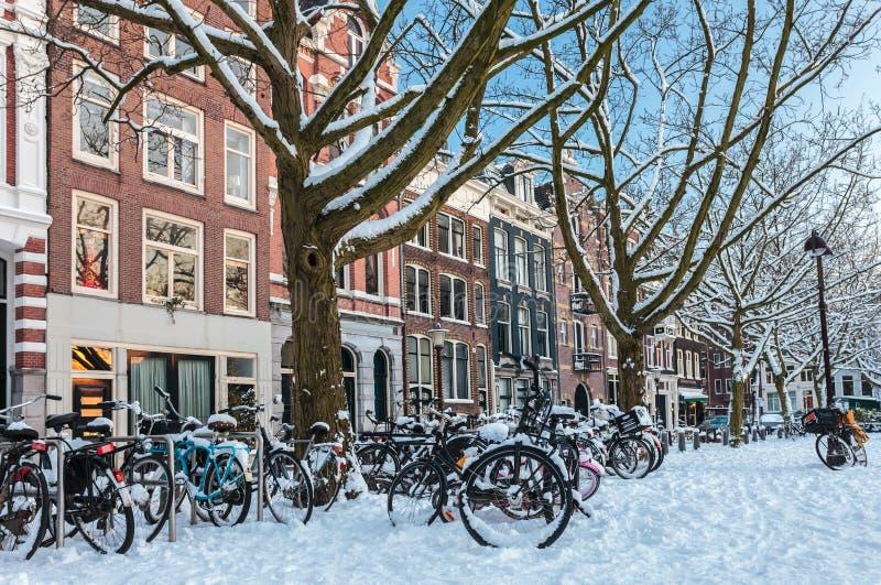 W zima Amsterdam rynek zdjęcie royalty free