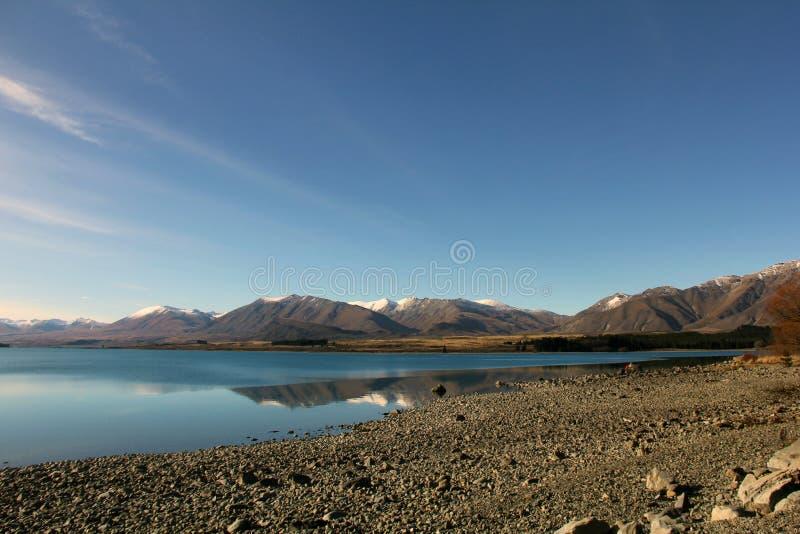 W Zima jeziorny Tekapo fotografia royalty free
