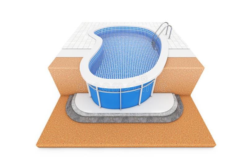 W - Zmielonym Błękitnym Plenerowym Pływackim Wodnym basenie z Drabinowym Constru ilustracja wektor