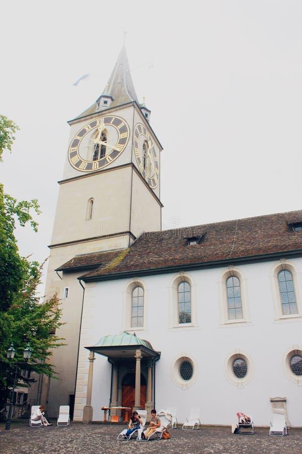 W Zurich Peter świątobliwy Kościół fotografia royalty free