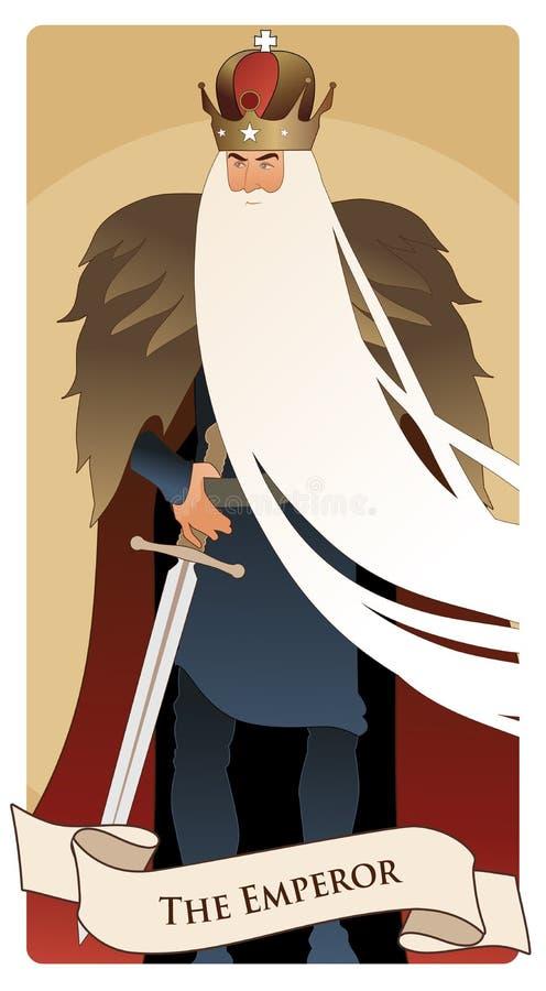 Ważne Arcana Tarot karty Cesarz Mężczyzna z koroną i tęsk biała broda, futerkowy przylądek i kordzik, przy talią ilustracji