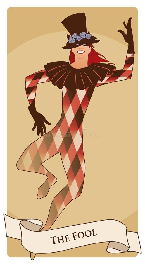 Ważne Arcana Tarot karty Dureń Joker z odgórnym kapeluszem dekorującym z kwiatami, maska i rhombus, nadajemy się tana ilustracji