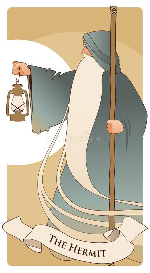 Ważne Arcana Tarot karty Eremita Stary człowiek z długą brodą, będący ubranym długiego kapturzastego kontusz, opiera na personelu ilustracja wektor