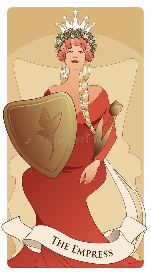 Ważne Arcana Tarot karty Imperatorowa Piękna kobieta z długimi warkoczami, ciężarnymi, obsiadanie na tronie ilustracja wektor