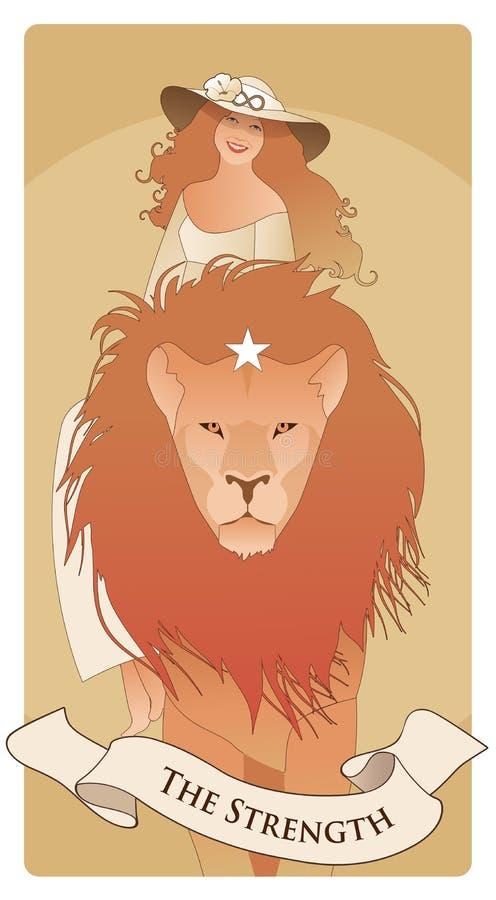 Ważne Arcana Tarot karty Siła Piękny i młoda dziewczyno jest ubranym kapelusz ozdabiał z kwiatem i symbolem nieskończoność royalty ilustracja