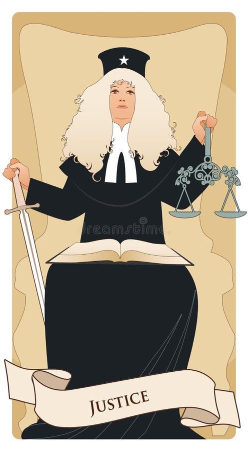 Ważne Arcana Tarot karty sprawiedliwość Kobieta ubierał w peruce i sędzia odziewa, trzymający kordzika w jeden ręce i skali ilustracja wektor