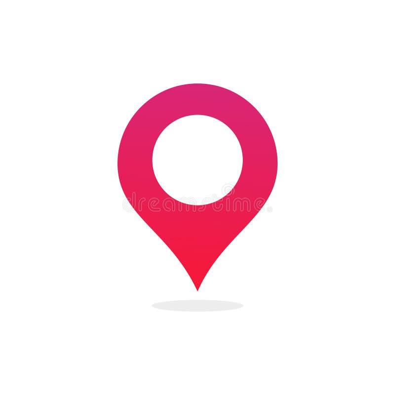 Wałkowa mapy miejsca lokacji ikona, Wektorowa ilustracja z nowożytnym płaskim projektem na tle dla lokalizacji szpilki markiera,  royalty ilustracja