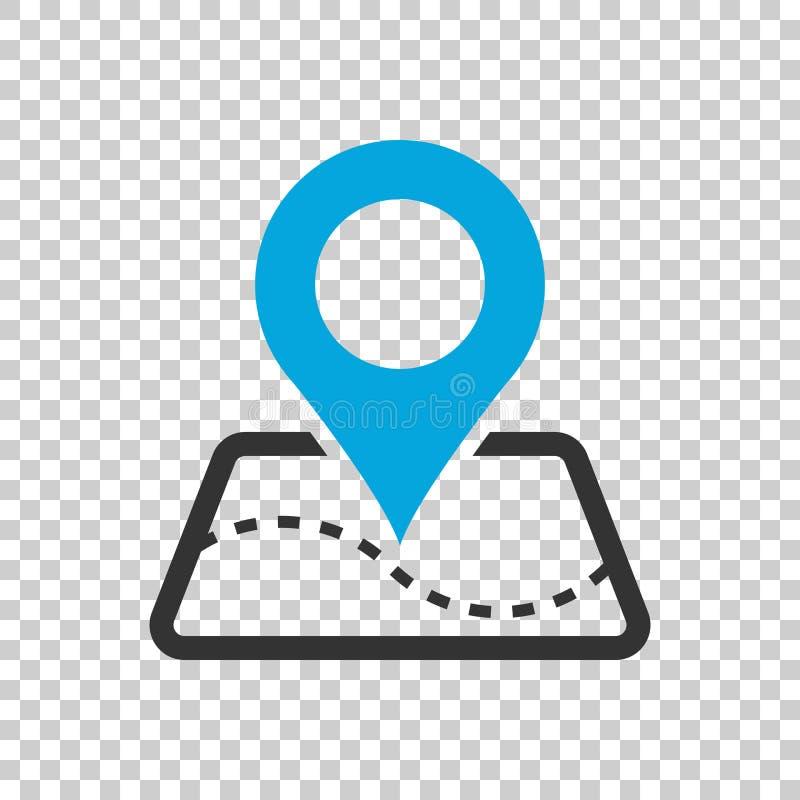 Wałkowa mapy ikona w mieszkanie stylu Gps nawigaci wektorowa ilustracja o ilustracja wektor