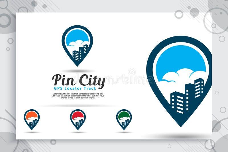 Wałkowego miasta wektorowy logo z prostym stylowym pojęciem, ilustracji szpilki mapą i budynkiem, może używać dla ikona cyfrowego ilustracja wektor