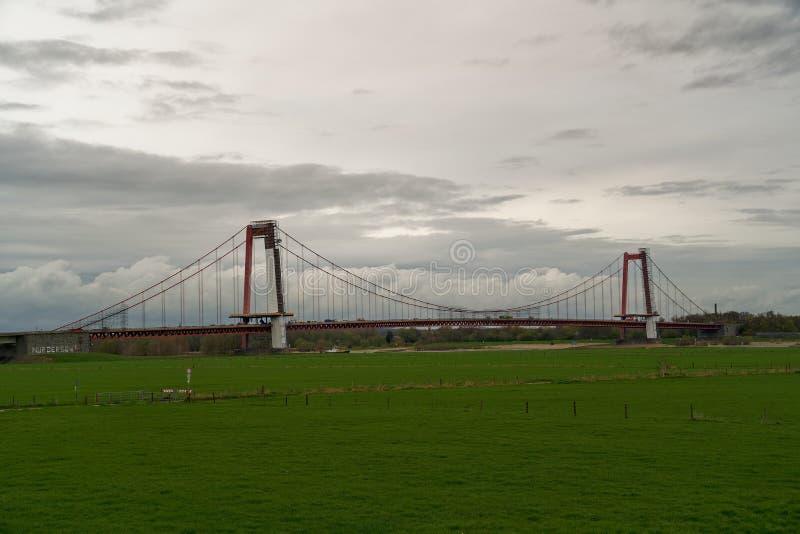 Ważny budowy emmericher Rhine most, emmerich, Germany, sideview obrazy royalty free