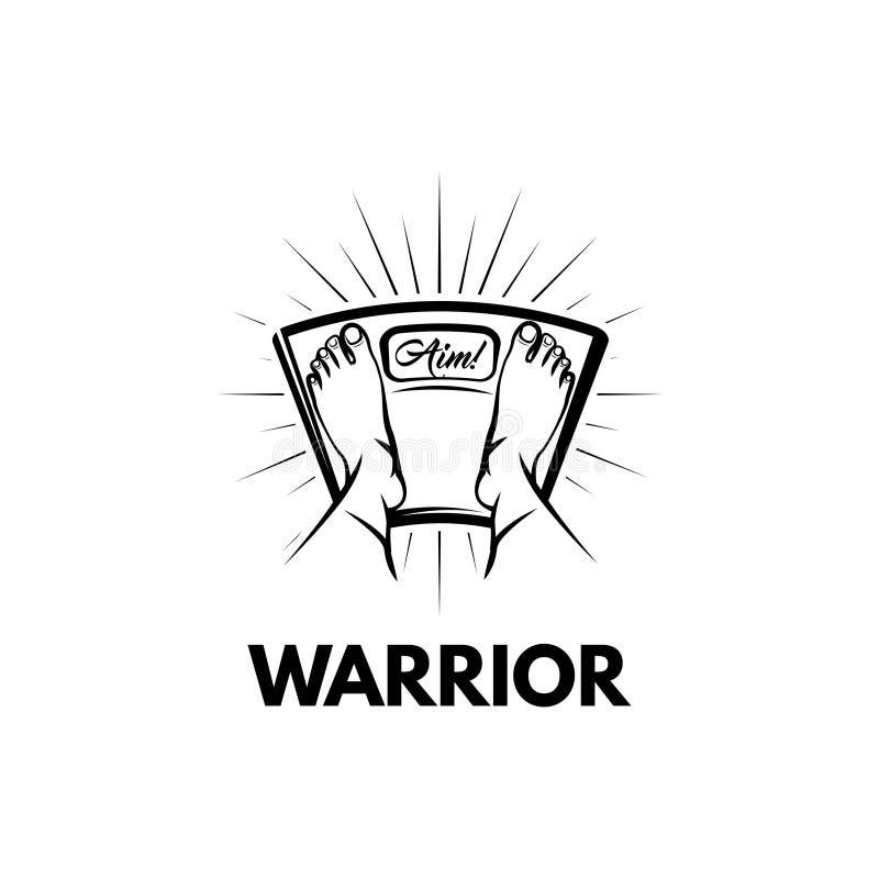Ważyć waży ikonę feign Wojownika tekst Sporta motavation, sprawność fizyczna logo wektor ilustracja wektor