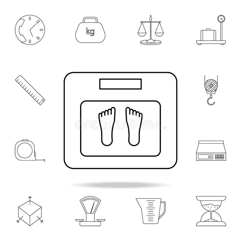 Waży ikonę Szczegółowy set pomiarowych instrumentów ikony Premia graficzny projekt Jeden inkasowe ikony dla stron internetowych,  royalty ilustracja