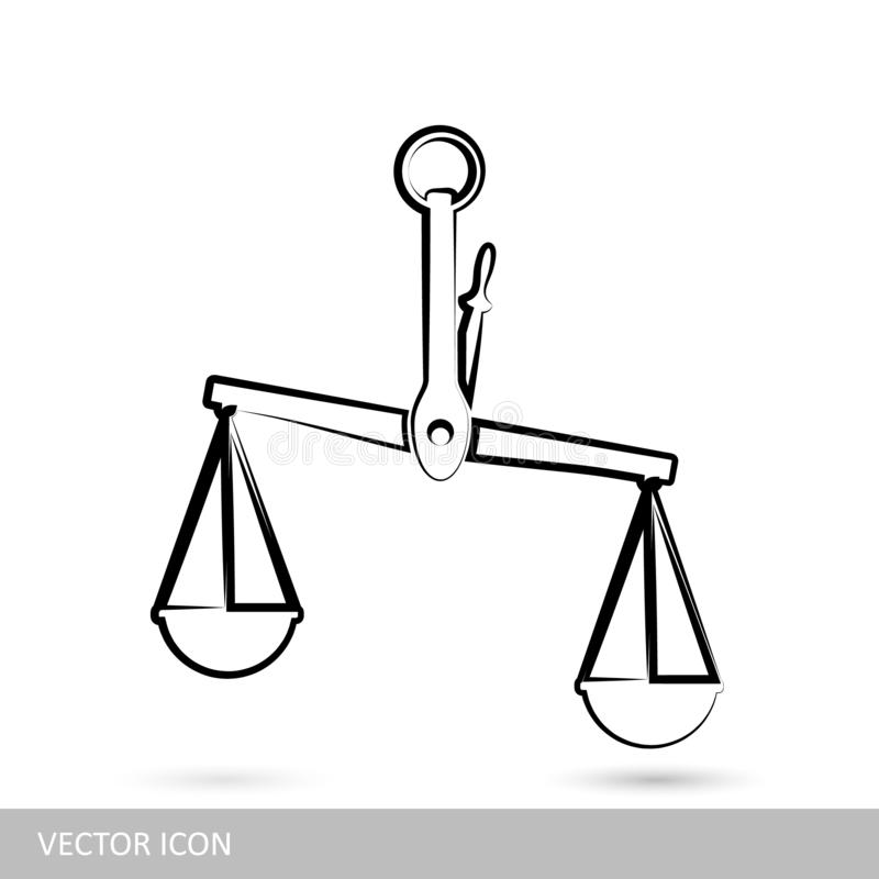 Waży ikonę Wektor obciąża ikony w liniowym projekcie ilustracja wektor