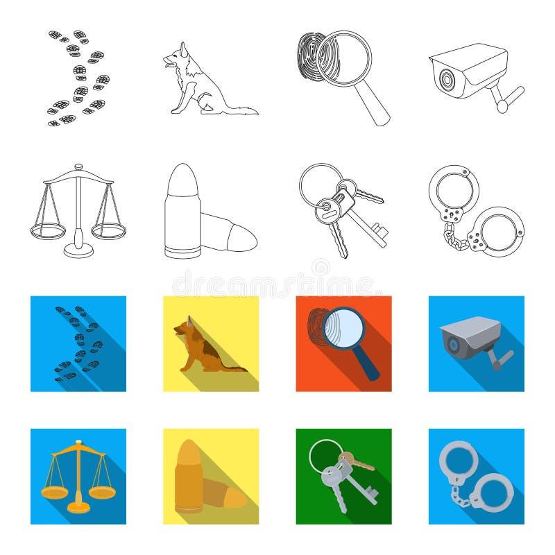 Waży sprawiedliwość, ładownicy, wiązka klucze, kajdanki Więzienie ustalone inkasowe ikony w konturze, mieszkanie stylowy wektor ilustracji