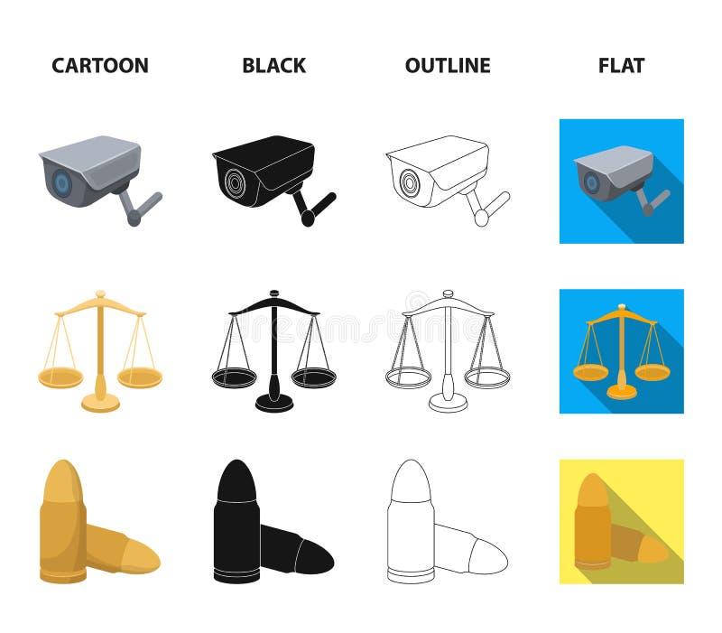 Waży sprawiedliwość, ładownicy, wiązka klucze, kajdanki Więzienie ustalone inkasowe ikony w kreskówce, czerń, kontur, mieszkanie ilustracji