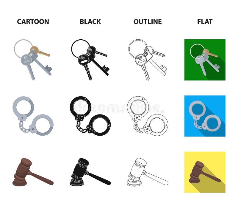 Waży sprawiedliwość, ładownicy, wiązka klucze, kajdanki Więzienie ustalone inkasowe ikony w kreskówce, czerń, kontur, mieszkanie royalty ilustracja