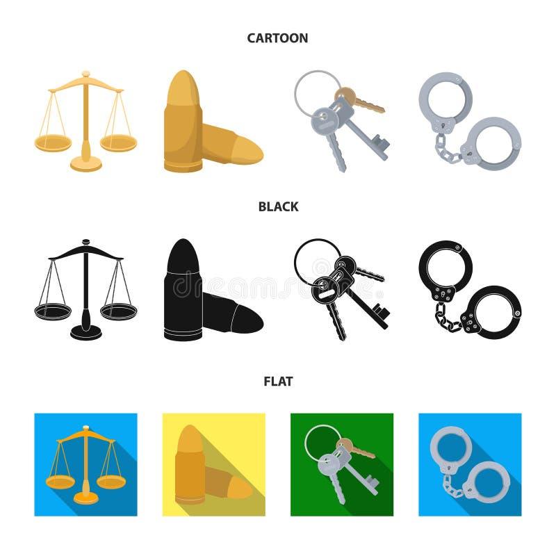 Waży sprawiedliwość, ładownicy, wiązka klucze, kajdanki Więzienie ustalone inkasowe ikony w kreskówce, czerń, mieszkanie stylowy  ilustracja wektor
