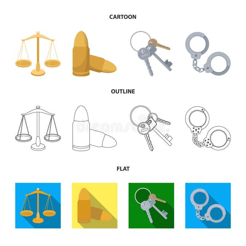 Waży sprawiedliwość, ładownicy, wiązka klucze, kajdanki Więzienie ustalone inkasowe ikony w kreskówce, kontur, mieszkanie styl ilustracja wektor