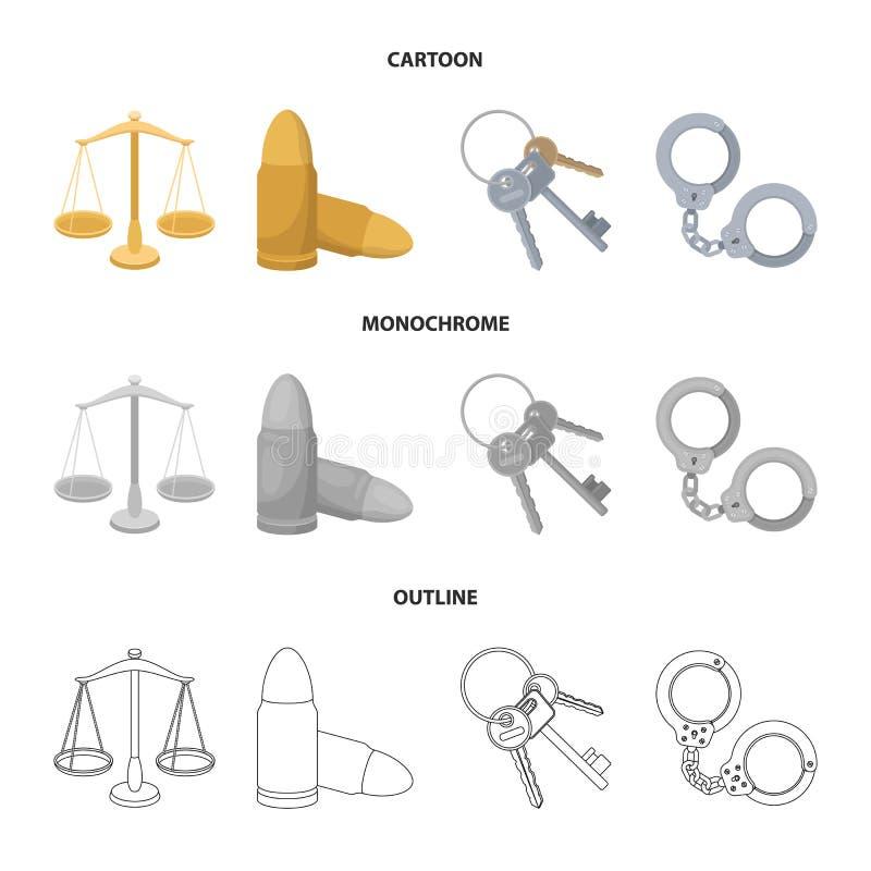 Waży sprawiedliwość, ładownicy, wiązka klucze, kajdanki Więzienie ustalone inkasowe ikony w kreskówce, kontur, monochrom royalty ilustracja