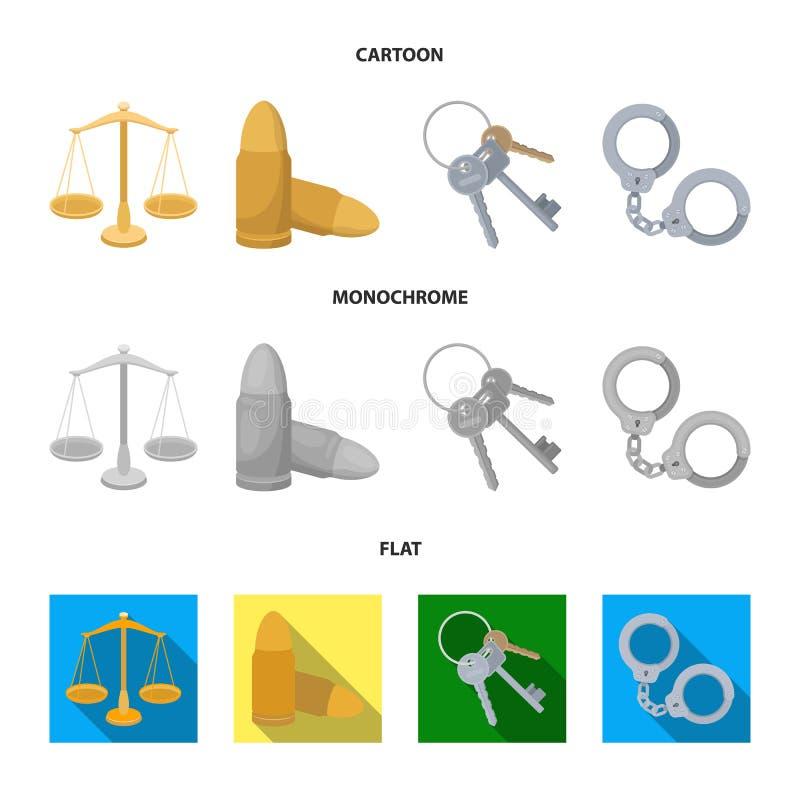 Waży sprawiedliwość, ładownicy, wiązka klucze, kajdanki Więzienie ustalone inkasowe ikony w kreskówce, mieszkanie, monochromu sty ilustracji