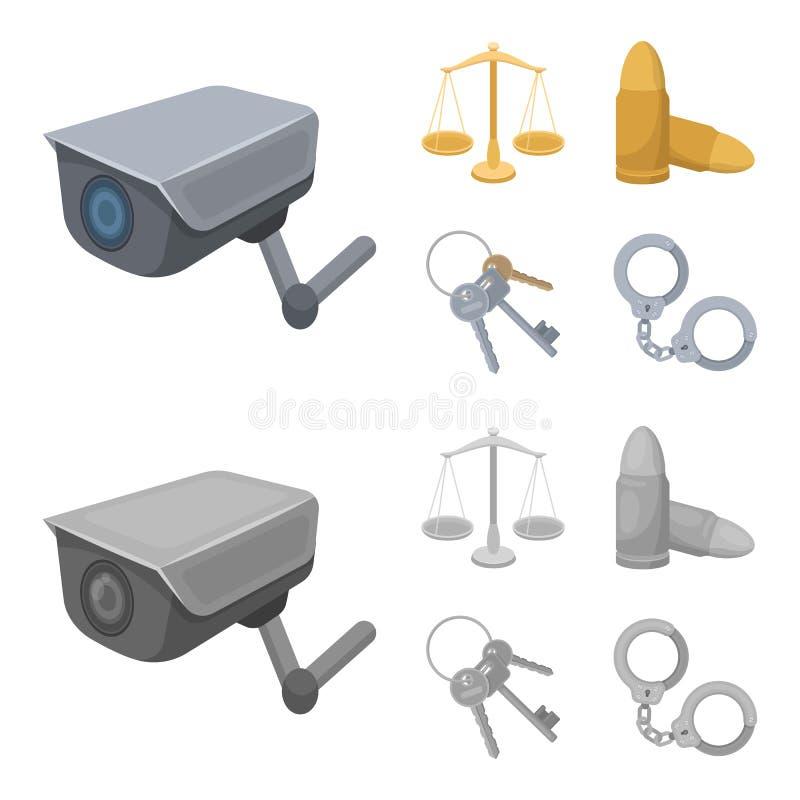 Waży sprawiedliwość, ładownicy, wiązka klucze, kajdanki Więzienie ustalone inkasowe ikony w kreskówce, monochromu stylowy wektor ilustracja wektor