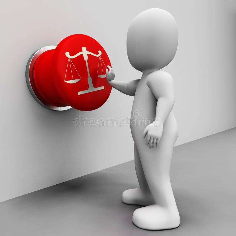 Waży sprawiedliwość guzika sposobów przekonanie I sąd ilustracji