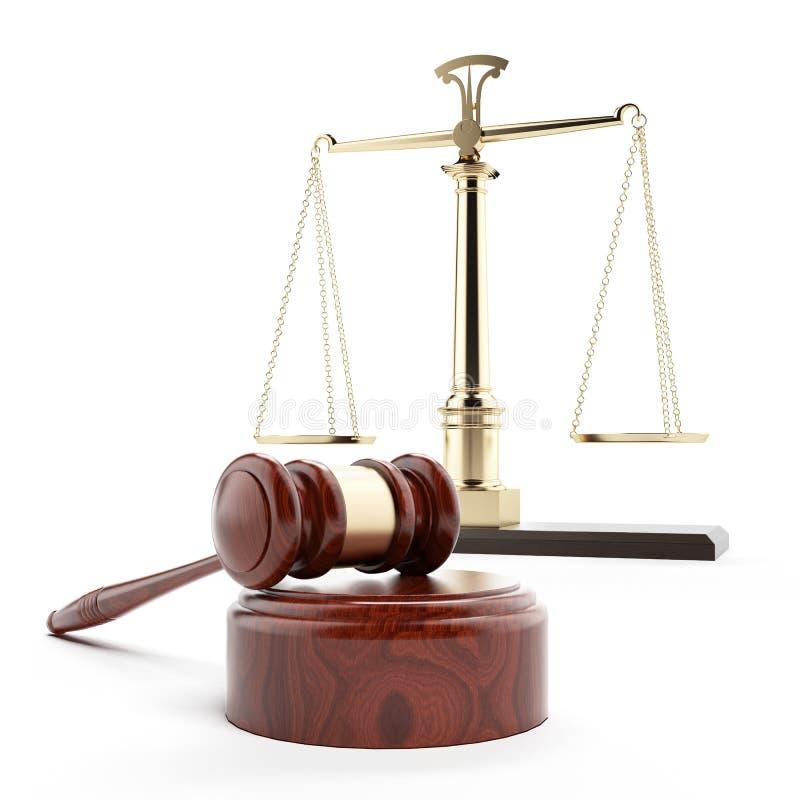 Waży sprawiedliwość i młoteczek ilustracja wektor