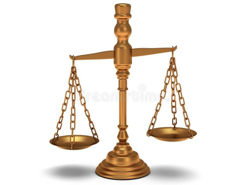 Waży sprawiedliwość na bielu. Odosobniony 3D. ilustracji