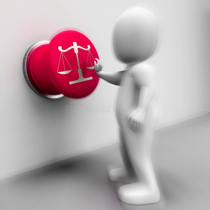 Waży sprawiedliwość Naciskający sposobu przekonanie I sąd royalty ilustracja