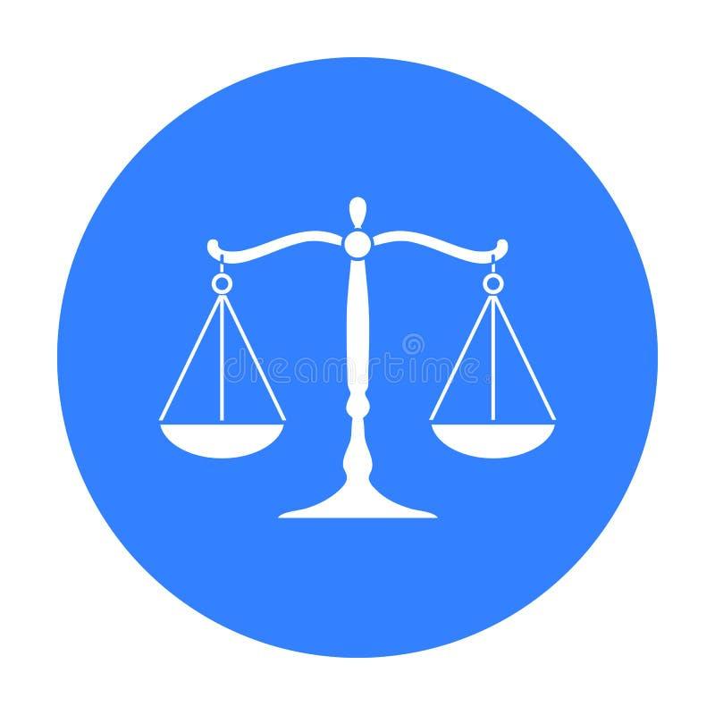 Waży sprawiedliwości ikona w czerń stylu odizolowywającym na białym tle Przestępstwo symbolu zapasu wektoru ilustracja ilustracja wektor