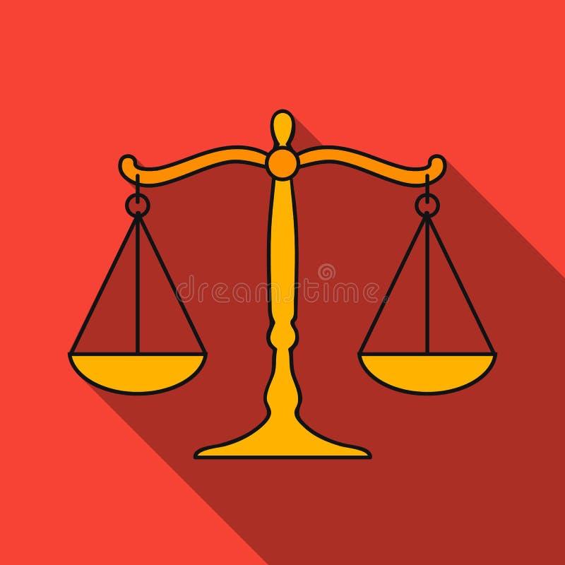 Waży sprawiedliwości ikona w mieszkanie stylu odizolowywającym na białym tle Przestępstwo symbolu zapasu wektoru ilustracja royalty ilustracja