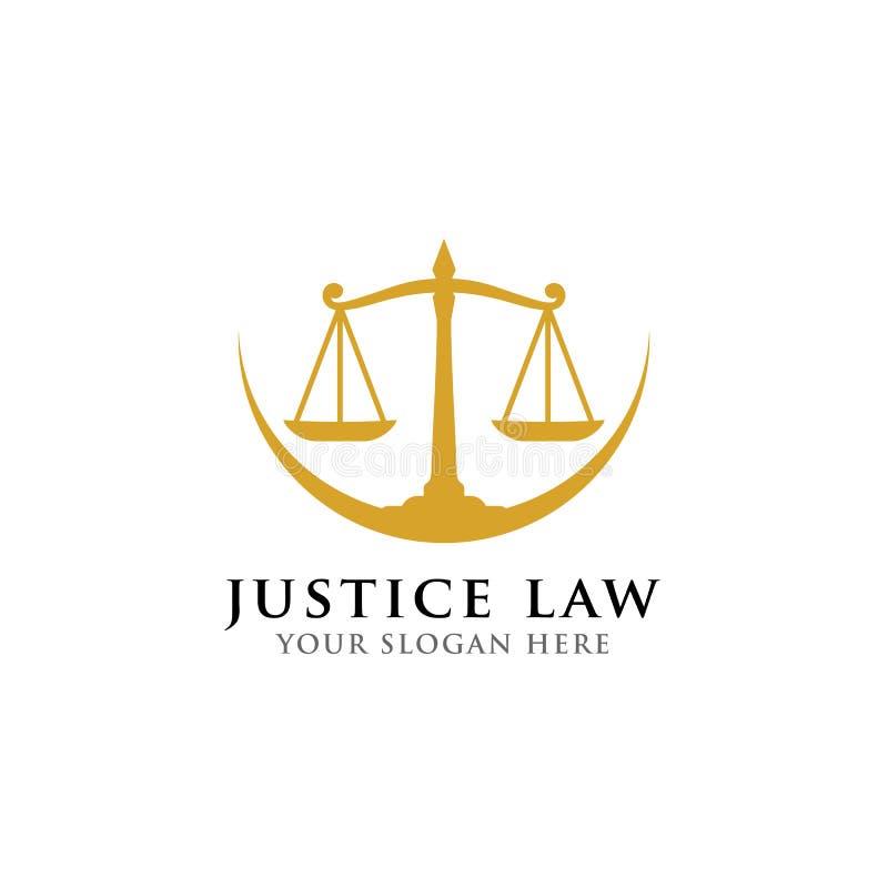 Waży wektorową ilustrację adwokata loga wektorowy projekt sprawiedliwości prawa loga szablon ilustracji