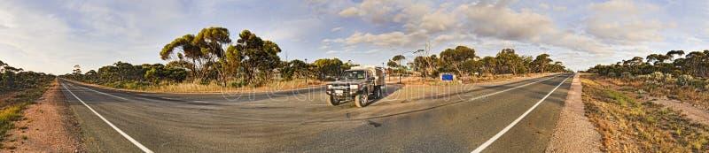 WA Balladonia Highway pan stock photography