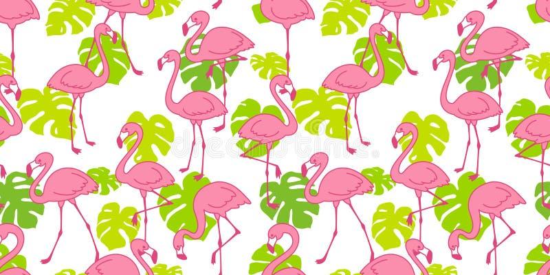 Wa isolado da repetição do fundo da telha do verão da folha do monstera do pássaro dos flamingos do rosa do vetor do teste padrão ilustração royalty free