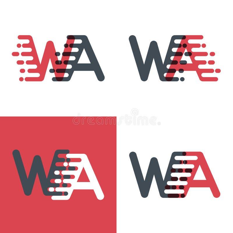 WA marque avec des lettres le logo avec le rose de vitesse d'accent et gris-foncé illustration de vecteur