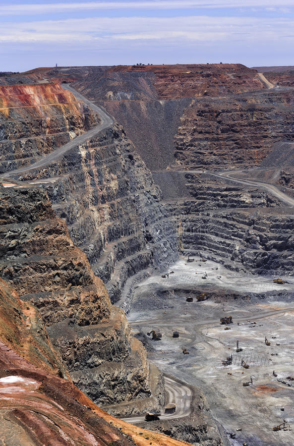 WA Super pit mine sky vertical royalty free stock images