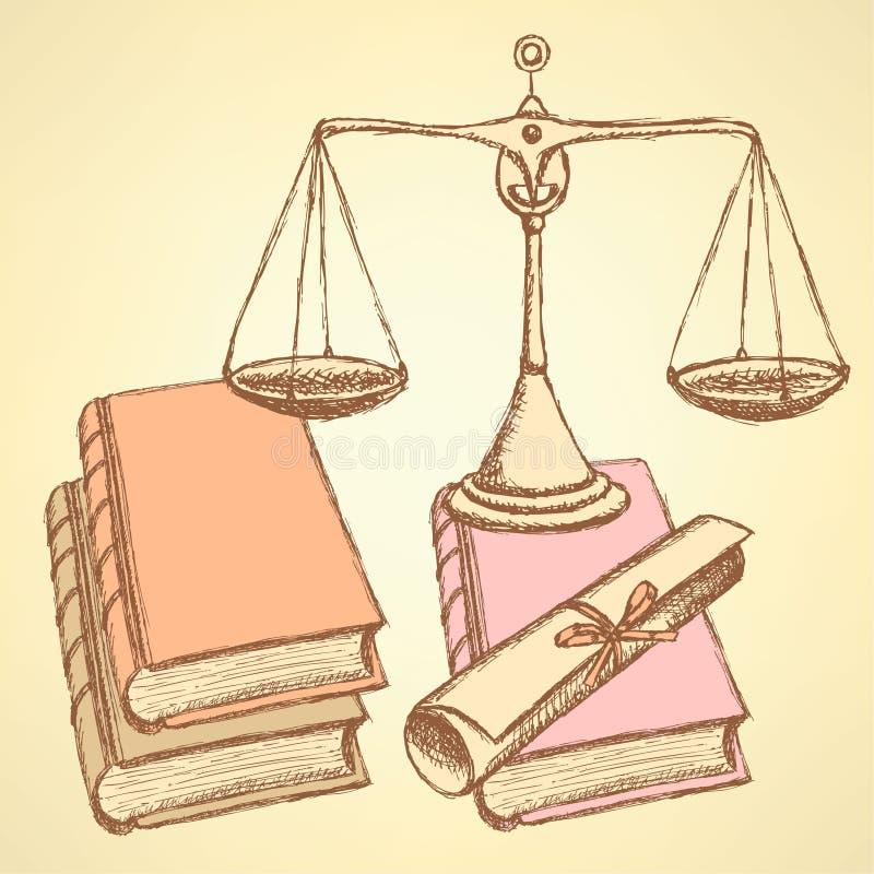 Waage del bosquejo con los libros y el diploma de la voluta libre illustration
