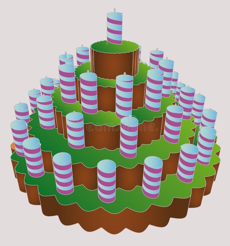 Waagerecht ausgerichteter sehr großer Kuchen der Geburtstagsfeier sechs   vektor abbildung