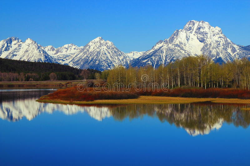 Waaier van Grand Teton dacht in Oxbow-Kromming van de Slangrivier na, het Nationale Park van Grand Teton, Wyoming stock foto