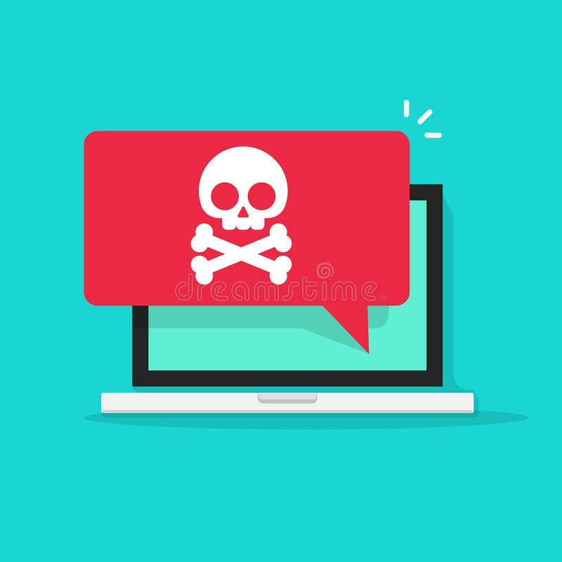 Waakzaam bericht op laptop computervector, malware concept, spamgegevens, online zwendel, virus royalty-vrije illustratie