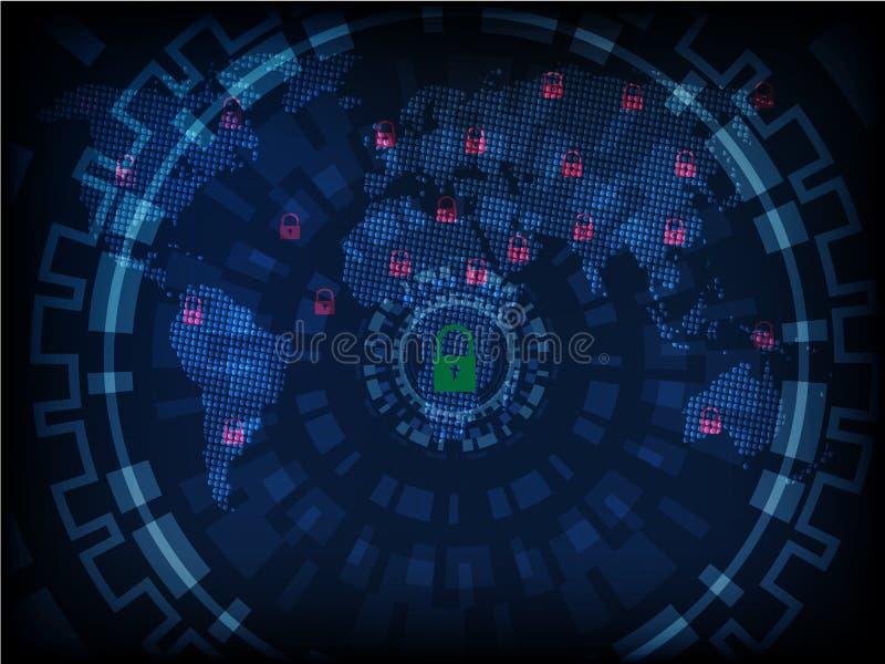 Waakzame Ransomware, technologie, cyber secueity, cybercrime, wereld ma vector illustratie