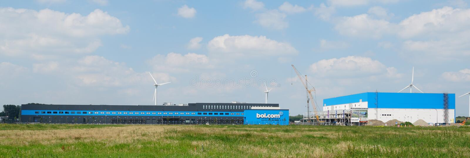 Bol.com distribution center in Waalwijk. Waalwijk, the Netherlands. June 2019. Distribution center for Bol.com in Waalwijk, a leading internet shop in the stock images