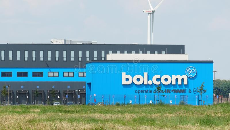Bol.com distribution center in Waalwijk. Waalwijk, the Netherlands. June 2019. Distribution center for Bol.com in Waalwijk, a leading internet shop in the stock photography