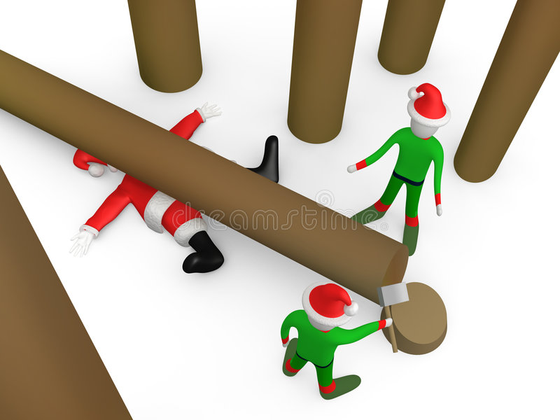 Waar ging santa? vector illustratie