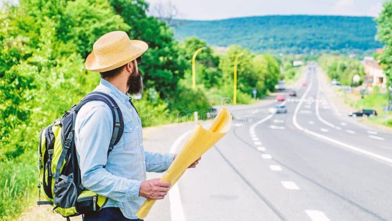 Waar indien ik ga Toeristen backpacker kaart het verloren richting reizen Rond de Wereld De kaart staat erkent genoeg toe royalty-vrije stock afbeelding