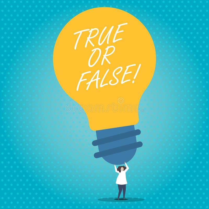 Waar of Valse handschrifttekst De conceptenbetekenis beslist tussen een feit of het vertellen van een verwarring van de leugentwi vector illustratie