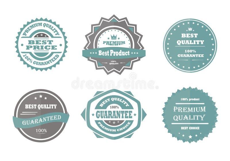 Waarborg, premiekwaliteit en beste keus vectorwijnoogst royalty-vrije stock afbeelding
