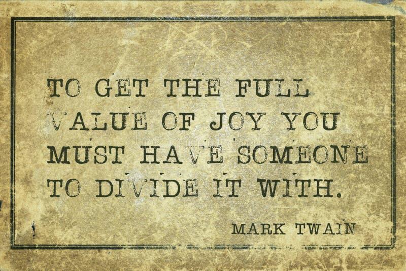 Waarde van vreugde Twain stock foto's